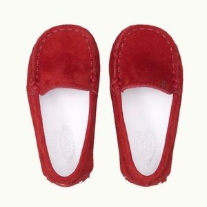 Tod's Baby Red Suede Gommino Driving Shoes